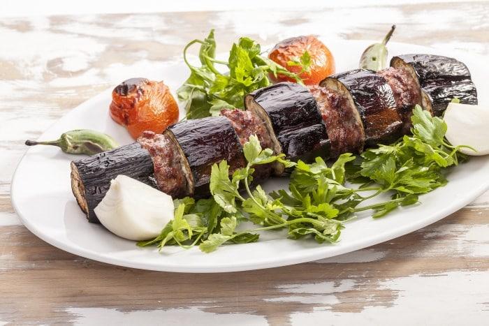 Kebab with eggplants